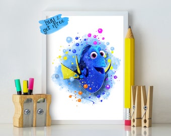 Finding Nemo Dory Personalised Poster A4 Print Wall Art Custom Name ✔