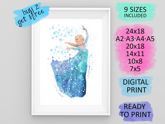 Art Print Poster Canvas Frozen Movie Characters Elsa Olaf Anna #1