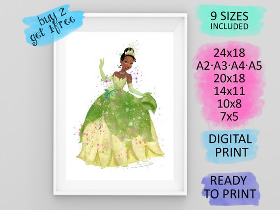 Tiana Princess and the Frog Type 2 Wall Art Disney Watercolor Poster UNFRAMED