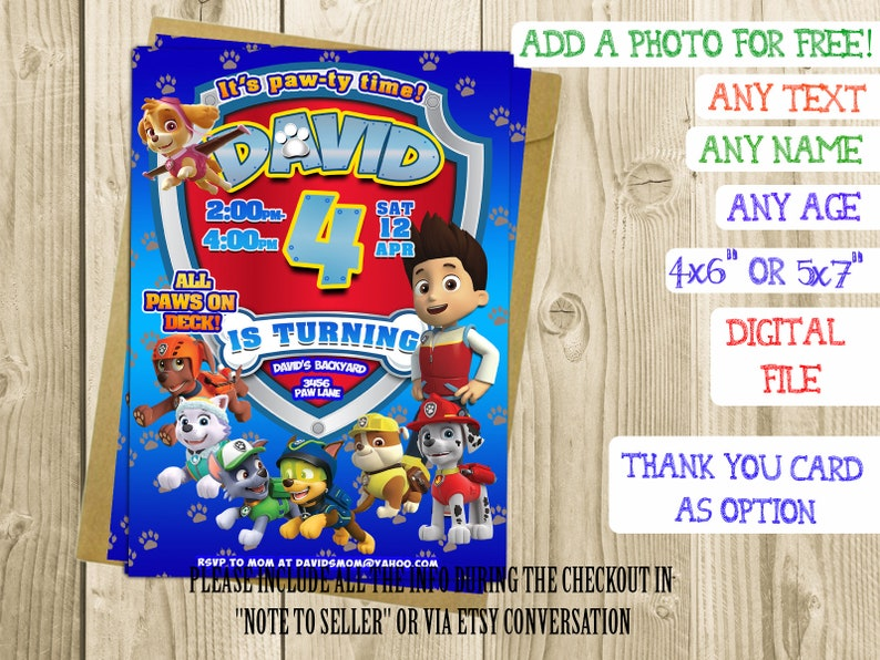 image relating to Printable Paw Patrol Invitations referred to as Paw patrol birthday invites printable Paw patrol invitations Paw patrol birthday printable boy 4 invites boy 4th birthday invites