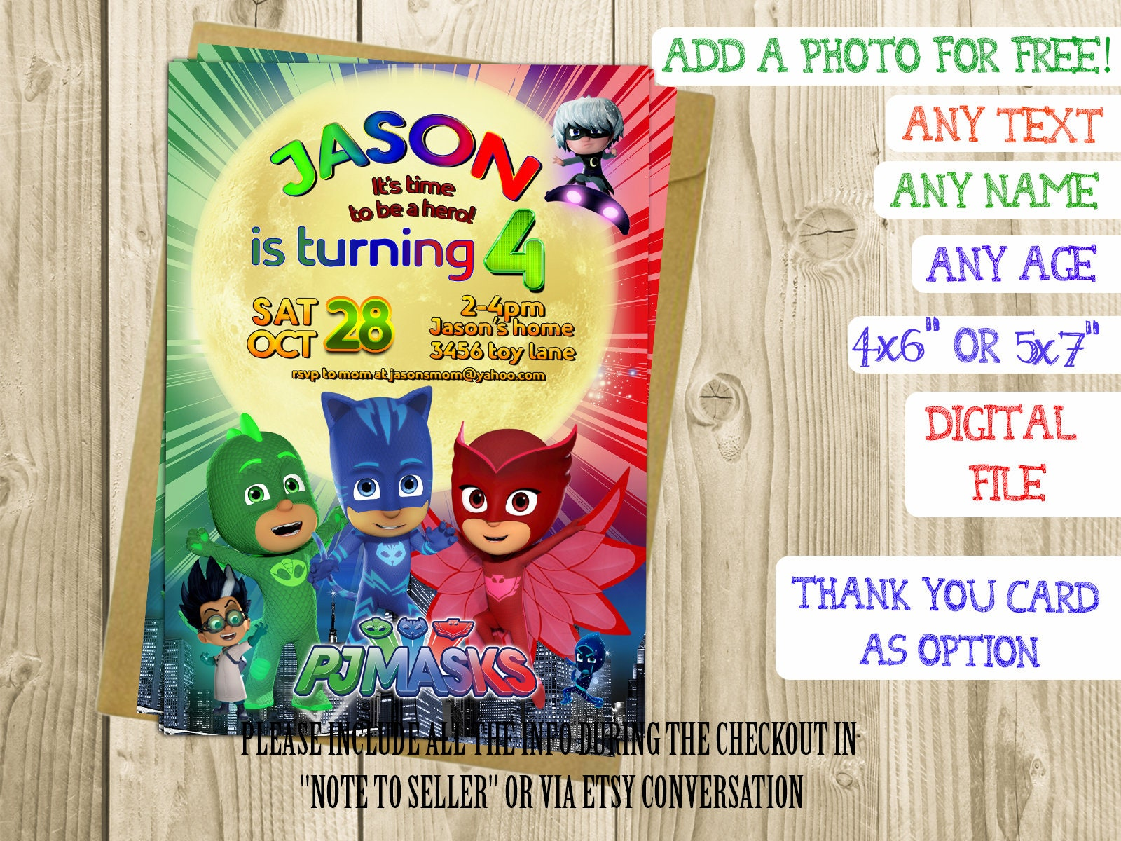 Pj Masks Birthday Invitation Invitations Printable