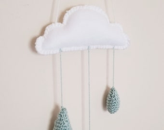 cloud mobile with crochet rain drops