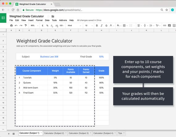 weighted grade calculator template for google sheets online etsy