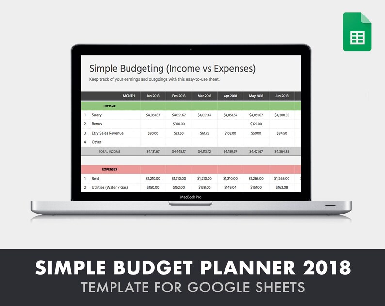 Simple Budgeting Spreadsheet 2018 (Income vs  Expense Tracker) - Template  for Google Sheets (online spreadsheet tool similar to Excel)