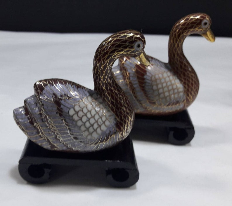Beautiful Coppia Miniature Uccelli In Cloisonnè Online Shop Antiques