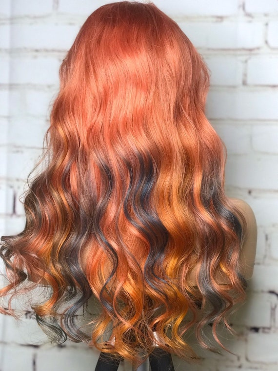 READY TO SHIP! Full lace, womens wig, copper, golden yellow, blue,  balayage, human hair, 130% density, 16 inches