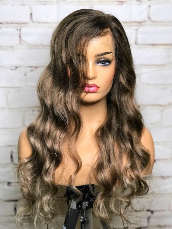 Full lace, womens wig, brunette balayage