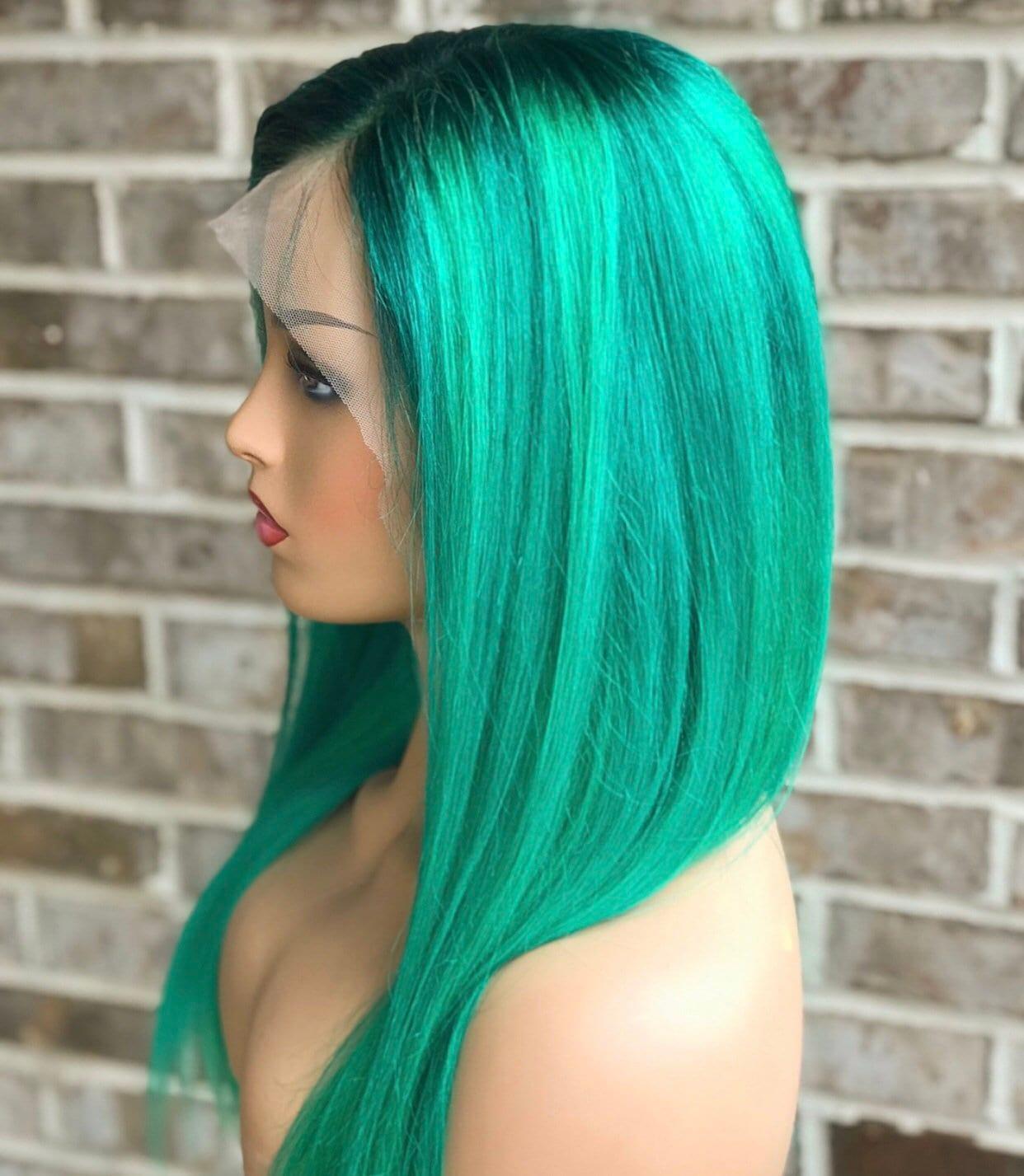Lace Front Womens Wig Green Green Hair Human Hair 130 Etsy