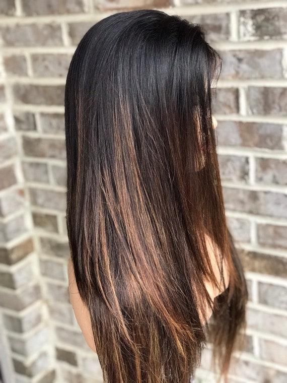 Full lace womens wig, black 1b, subtle caramel balayage highlights, 130%  density, highlighted wig, black hair, straight hair