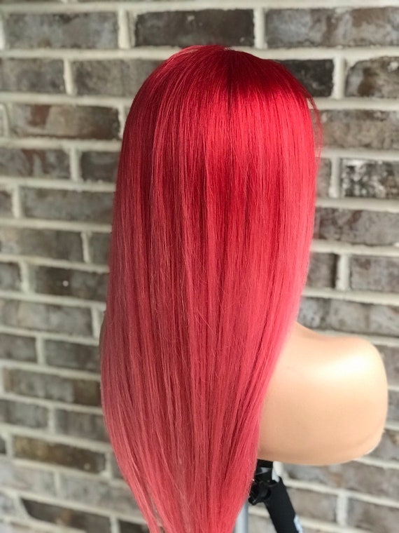 Full Lace Womens Wig Red Ombre Pink Hair Balayage Colormelt Human Hair 130 Density
