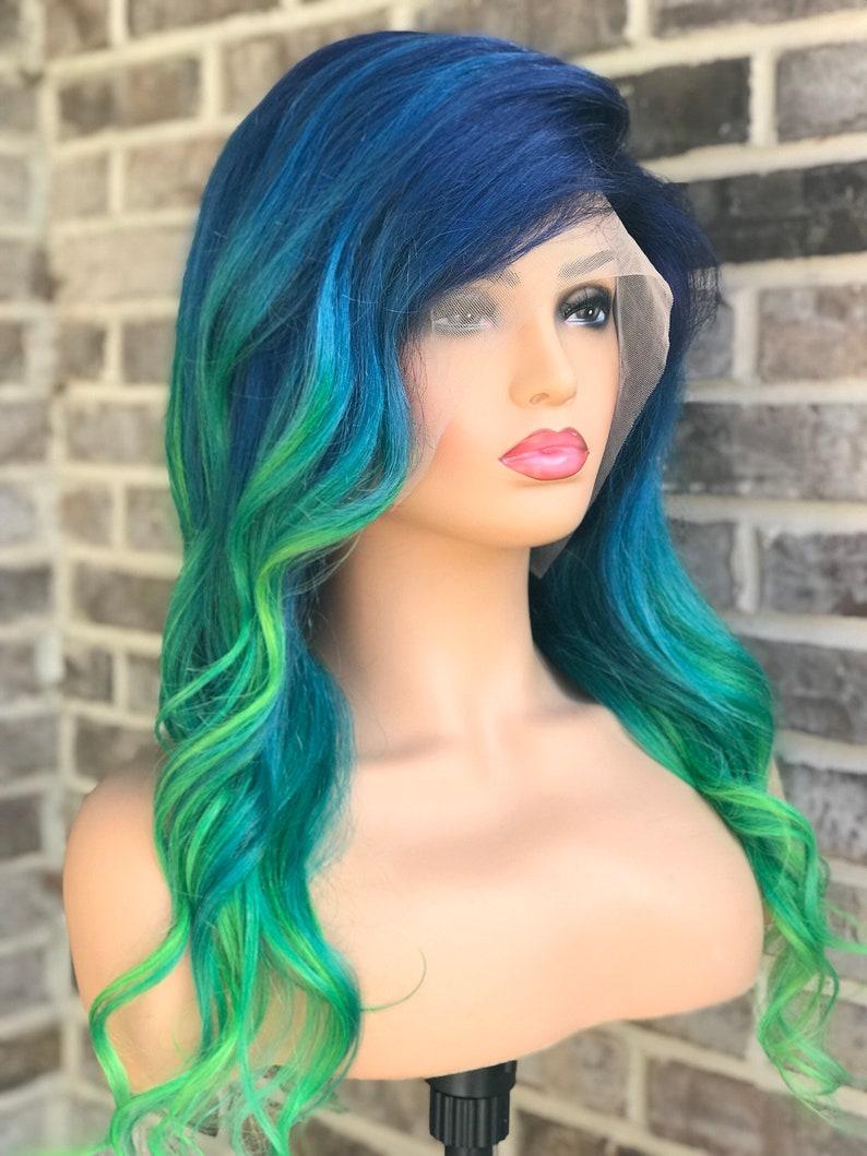 Full lace womens wig navy blue light blue green hair human  85d946fc10