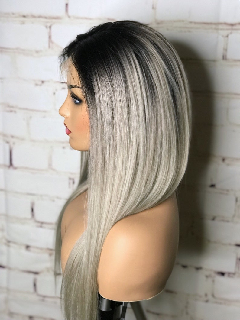 Lace Front Women S Wig Shadow Root Platinum Blonde Ice Blonde Ash Blonde Straight Human Hair