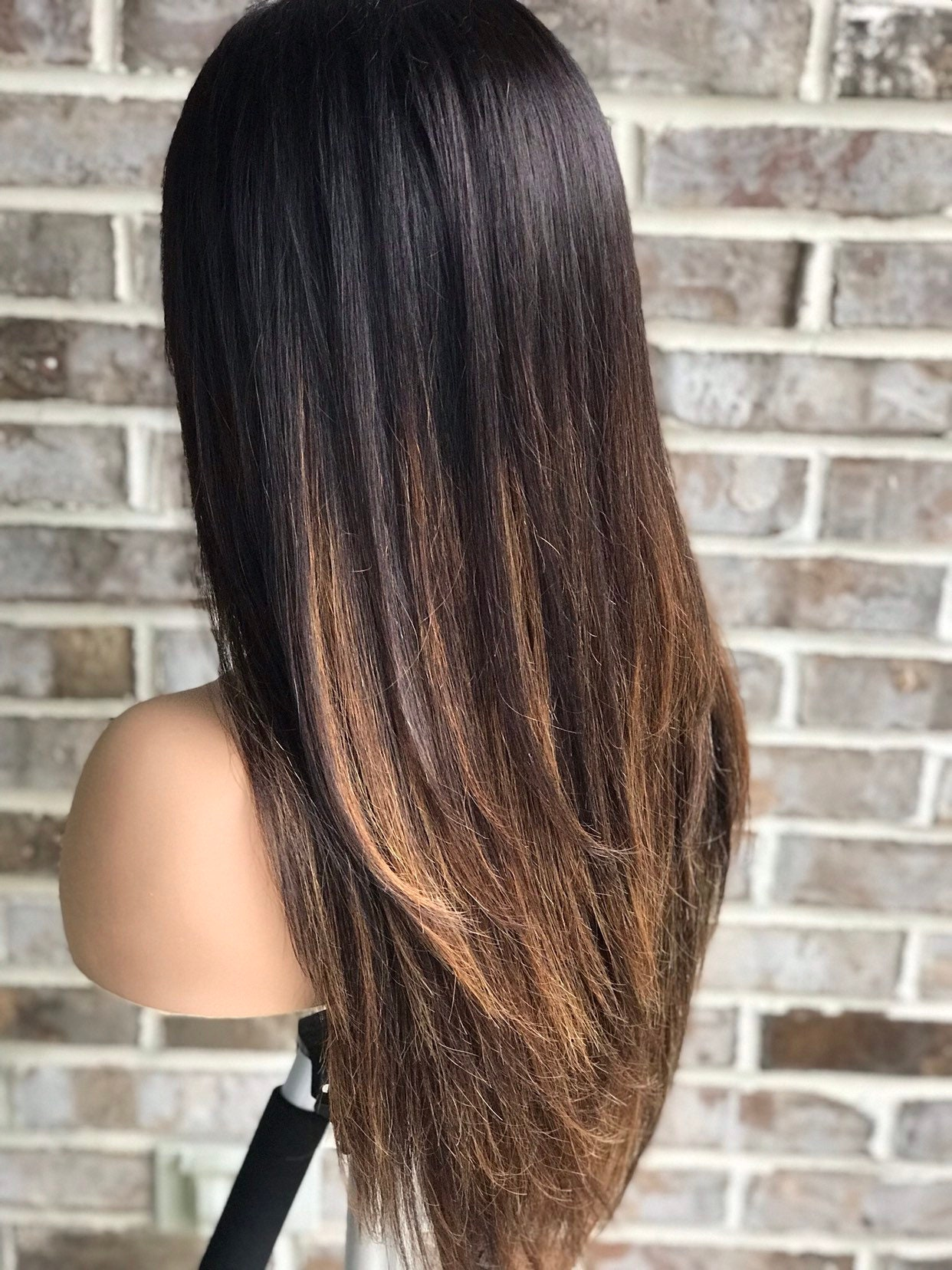 Lace front womens wig, black 1b, subtle caramel balayage highlights, 130%  density, highlighted wig, black hair, straight hair