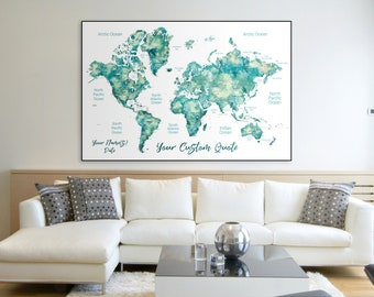 Push Pin Map Etsy - Full wall size world map