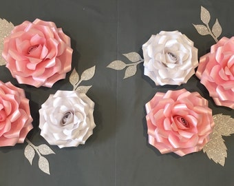 Large paper wall flowers set of 6 nursery decor 3d wall art
