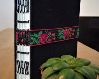 A6 Hand bound Notebook, Diary, Sketchbook, Journal | Red Rose embroidery