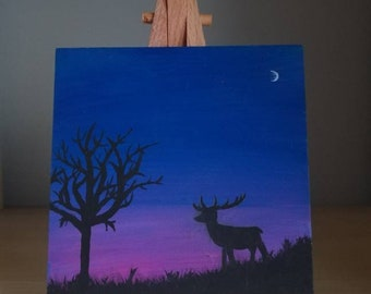 Deer At Dusk acrylic on wood