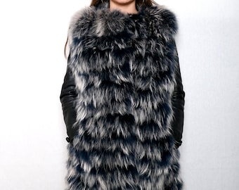 Real new fin raccoon fur vest, the best fur vest, leather lamp and fin raccon