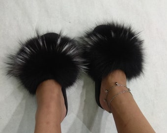 58bd40288fc4 Real Fox Fur Slides,fur slippers, fluffy fur shoes,fur flip flop,black with  silver fur,fur shoes,fox fur slippers