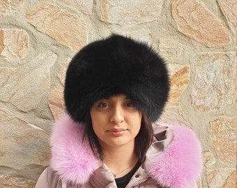 8ff8987e6e5c8d Fox fur hat,real fox hat,winter hat,black fox hat