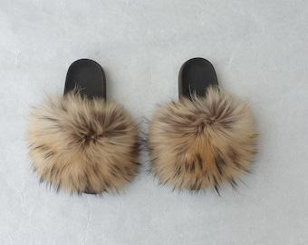 feee63c3a Real Fur Slides
