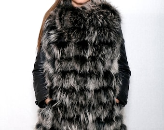 Real new fin raccoon fur vest, Gray fur vest,  100& leather lamp and fin raccon