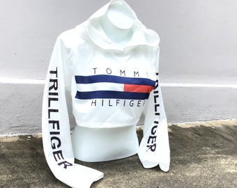 14c2cf8fccf REWORKED Tommy Hilfiger Women Hoodie TRILLFIGER SPELLOUT Tube Top, 90s  Vintage Style, Festival Tops, Under Bra Sweater