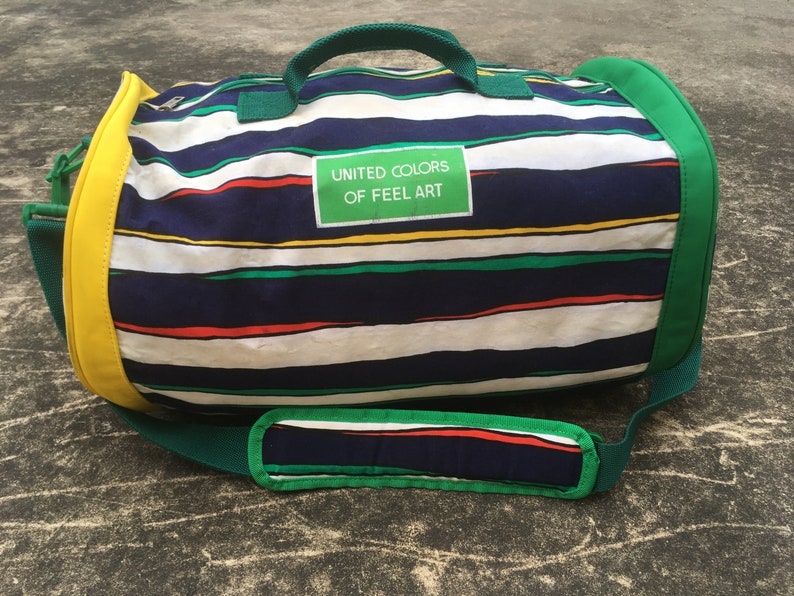 cf21796610b Vintage United Colors of Benetton / Feel Art Duffle Bag 90s Sports Gear  Checkered