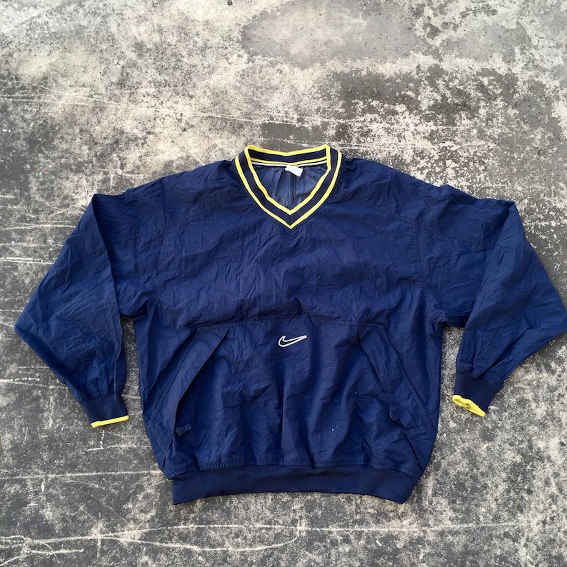 59e8309b51296 90s Windbreaker by NIKE Pullover Jacket Classic Sports Outdoor Hip Hop  Black And Yellow