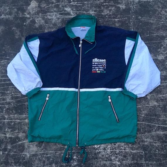 Vintage ELLESSE ITALY Jacket Large 90's Ellesse Perugia Sports All Over Floral print Activewear Bomber Hoodie Ski Jacket Size L uQac2wKT