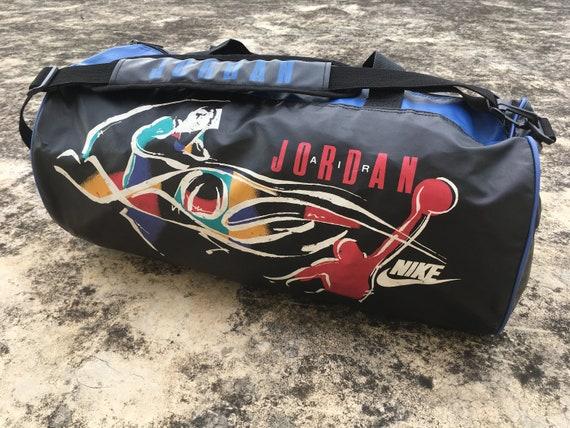 ced4edf5093c 90s AIR JORDAN Leather Duffle Bag  Gym Bag by NIKE Hip Hop