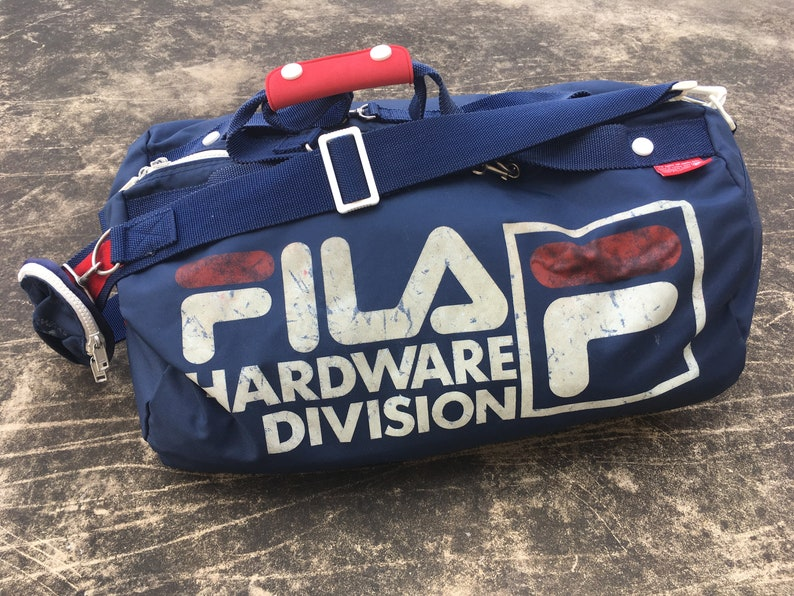 RARE 90s FILA Duffle Bag   Sports Bag Spell Out Vintage Sports  54ddbbd605f07