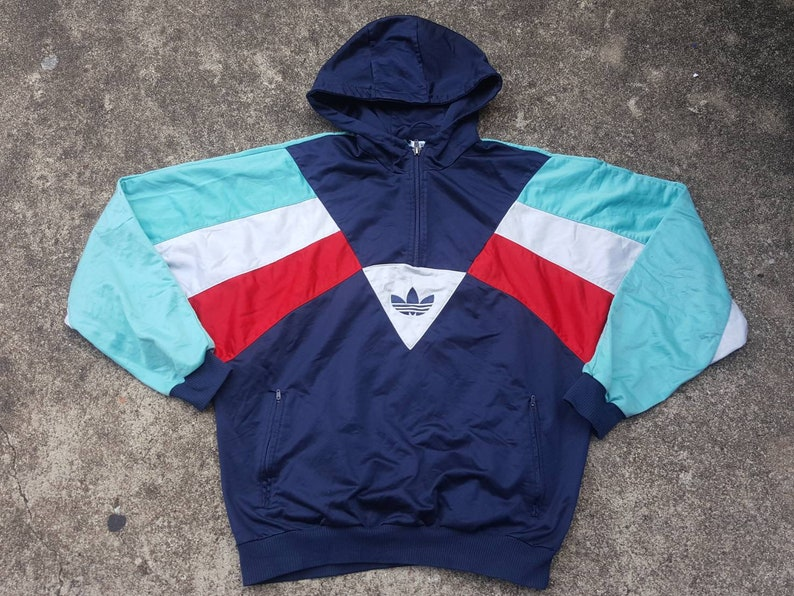 Vintage ADIDAS Track Jacket Pullover Jacket With Hoodie Awesome Colored Blocks 90s Sportswear