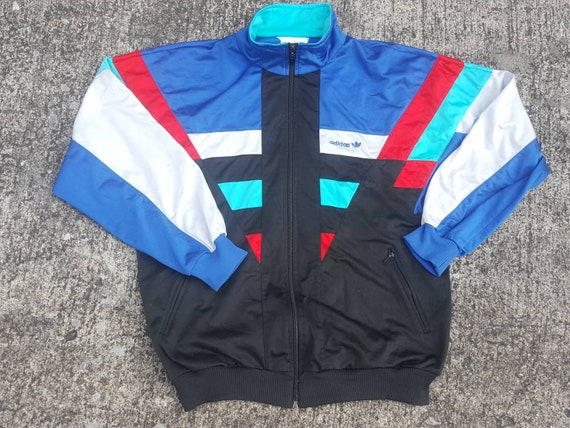 Vintage ADIDAS Track Jacket Blue Colored Blocks 90s Sportswear