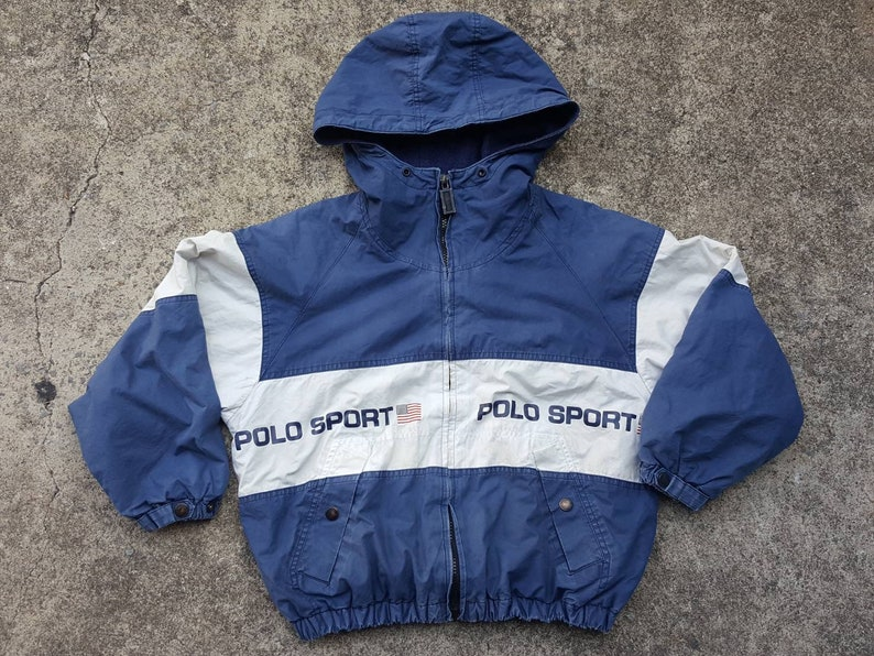 4ed98645341b8 Kids Vintage POLO SPORT Pullover Jacket by Ralph Lauren Spell Out Rare 90s  Windbreaker