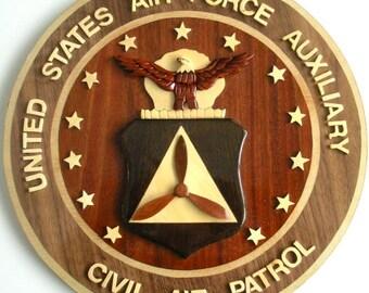 4369e040934 CIVIL AIR PATROL - Air Force Auxiliary - Wood Art Plaque