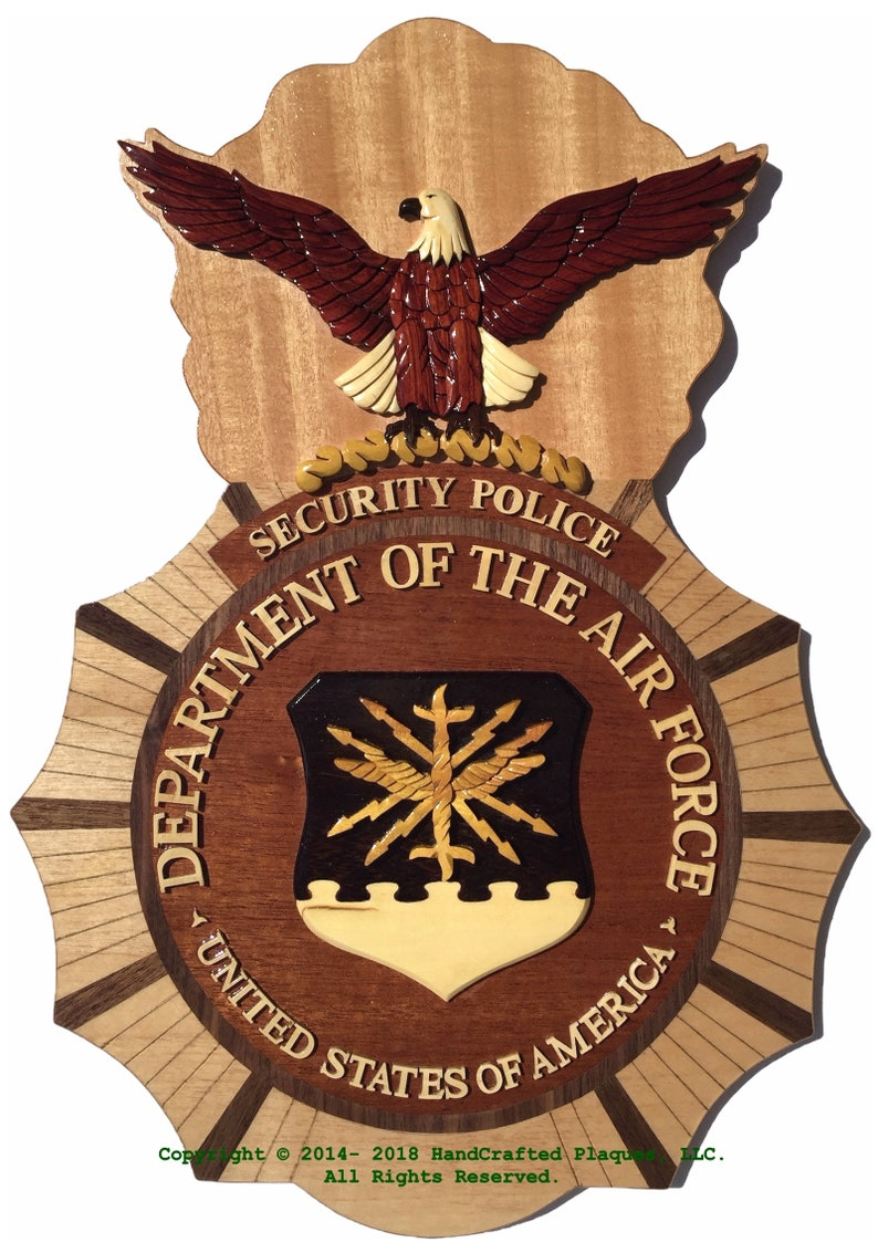 Air Force SECURITY POLICE Badge WoodArt Plaque