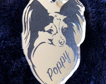 Personalised Pomeranian Keyring in Silver Mirror