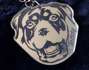 Personalised Rottweiler Keyring in Silver Mirror