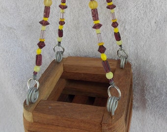 Wood Orchid Basket w/ Beaded Hanger