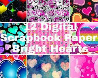 12 Digital Printable Paper Bright Hearts 12X12