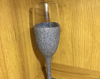 Silver Holographic and Blue Glitter Champagne Flute