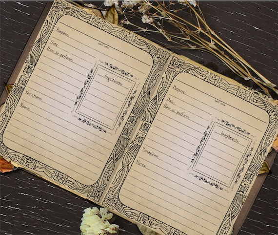 printable book of shadows spell template page digital etsy