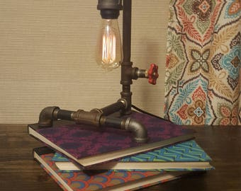 Industrial Pipe Lamp - Steampunk Lamp -Desk Lamp - Water Valve Switch - Unique Decorative Lamp - Man Cave - Pipe Lamp - Gift for Men -