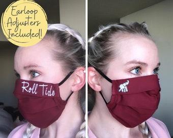 Embroidered University of Alabama Washable Cotton Face Mask