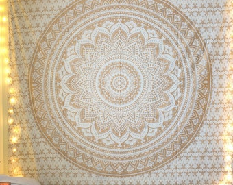 Gold Ombre Mandala Hanging Indian Tapestry Hippie Dorm Tapestries Wall Floral