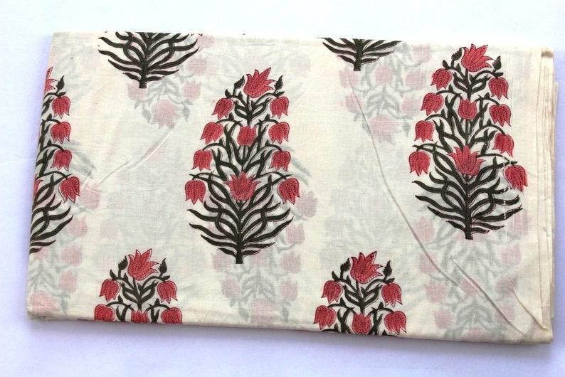 5 to 50 Yard Indigo Rd /& Black Indian Hand Block Print Cotton Fabric Running Fabric Throw