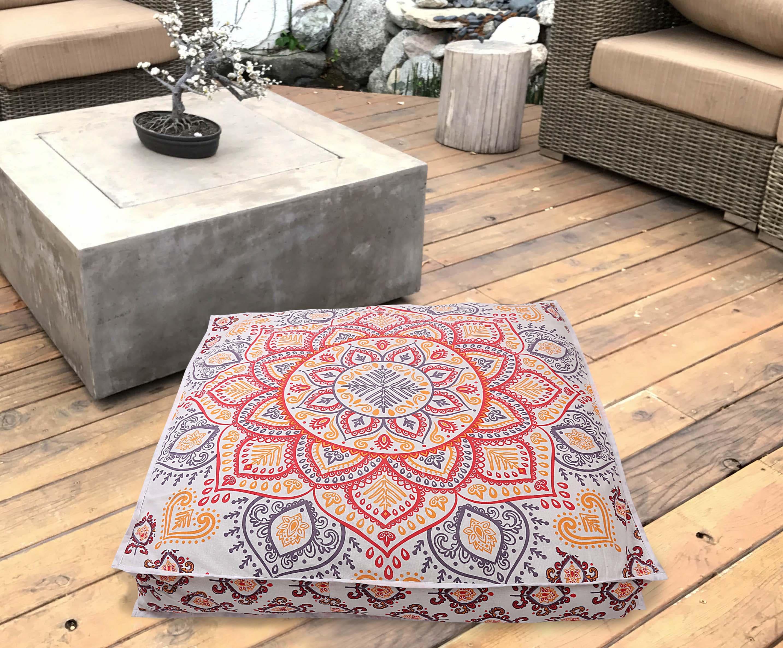 Ombre Mandala Square Floor Pillow Ottoman Pouf Meditation Dog Bad Cushion Covers