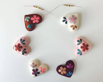 Hand embroidered heart garland
