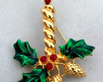 JJ Jonette Jewelry Christmas Candle Brooch Pin Red & Green Enamel Vintage 1980's Holly Pine Cones Goldtone